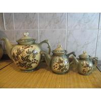 Набор красивых расписных чайников. 3 штуки. Расписная керамика