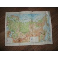 Физическая карта СССР 1955 год