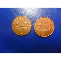 Гернси 2 пенса 1988,1999 г.г.-цена за монету