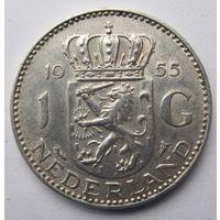 Нидерланды 1 гульден 1955 - серебро 6,5 гр. 0,720