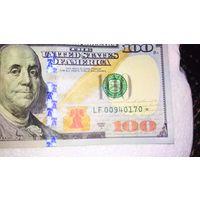 100 долларов США, со звездой. Состояние unc.