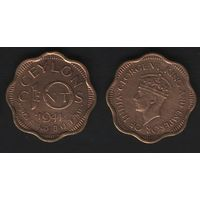 Цейлон km118 10 центов 1944 год (f06)