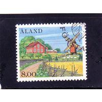 Аландские о-ва. Финляндия. Ми-13. Сельский пейзаж. Мельница. 1985
