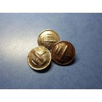 Пуговицы железнодорожные большие (латунь, диаметр 22 мм)-3 штуки