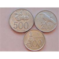 Индонезия 100,200 и 500 рупий