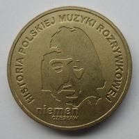 """Польша 2 злотых 2009 """"История польской музыки - Чеслав Немен"""""""
