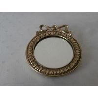 Зеркало маленькое бронзовое тяжелое Германия диаметр 11.5 см.