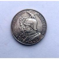 2 марки 1901 г. Супер ПАТИНА!!!200 лет королевства Пруссия.Серебро.