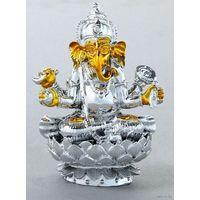 Ганеша на лотосе  Нэцкэ под золото в серебре