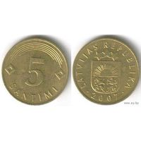 Латвия. 5 сантимов (2007)