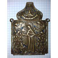 Икона из складня Богородица Всем Скорбящим Радость старинная латунь