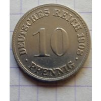 Германия 10 пфенниг 1908г. -D-