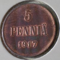 Россия для Финляндии, 5 пенни 1917 года, орёл без короны, Cu/ 6,5 грамма, UNC, KM# 15