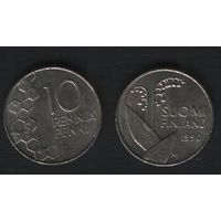 Финляндия km65 10 пенни 1990 год (M) (новый тип) CuNi цветы (f312)