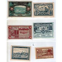 Австрия нотгельды 6 штук (12) 20 геллеров.