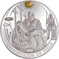 """Палау 2 доллара 2016г. Библейские истории: """"Распятие Христа"""". Монета в капсуле; подарочном футляре; номерной сертификат; коробка. СЕРЕБРО 15гр."""