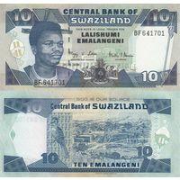 Свазиленд 10 эмалангени образца 2006 года UNC p29c