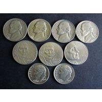 США. 9 монет 1964-2010 г.