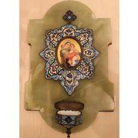 Икона Богоматерь - кропильница. Рубеж XIX/XX вв. Оникс, Бронза,эмали,живопись.
