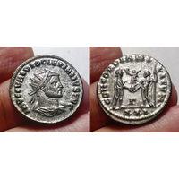 Римская Империя, Диоклетиан, 284-294 гг, антониниан (аврелианиан). Отлично сохранившееся серебрение. Нечастые в таком сохране