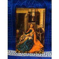 "Картина ""Мадонна с младенцем у камина"" репродукция на дереве под лаком 20 х 13 х 1 см"