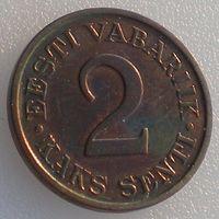 Эстония, 2 сенти/ сента/ senti 1934 года, KM#15, бронза