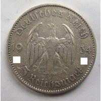 1934 г. 5 марок. G. Германия. Рейх. Серебро.