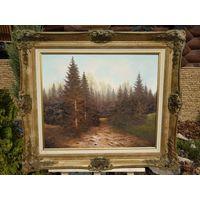 341 большая Красивая Картина Лесной Пейзаж Масло Холст 60х50см - Рама Дерево 80х70