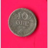 19-07 Норвегия, 10 эре 1943 г. Единственное предложение монеты данного года на АУ