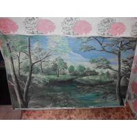 Картина маслом на холсте 101х63см