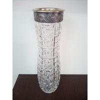 Ваза хрусталь серебро 875 проба, 28 см