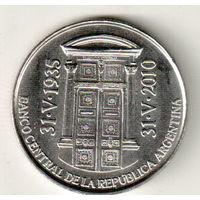 Аргентина 2 песо 2010 75 лет Центральному банку Аргентины