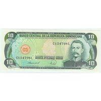 Доминикана 10 песо 1988 год. UNC-