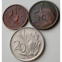 ЮАР, набор из 3 монет: 1 цент 1975, 5 центов 1993, 20 центов 1977