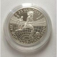 Футбол, Суринам, Руд Гуллит , серебро, 25 гульденов, 1990, Чемпионат мира по футболу