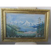 Старинная картина,в старой деревянной раме,Х/М,60\40см,С РУБЛЯ