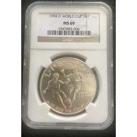 Чемпионат мира по футболу в США , 1 доллар , серебро, в слабе ,  1994г