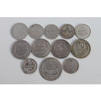 Лот серебряных монет, есть редкие.
