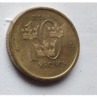 Швеция 10 крон, 1991 4-6-25