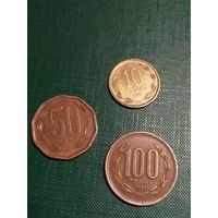 Чили набор 3 монеты