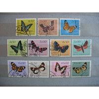 Порт. Мозамбик. Бабочки, 11 концовок. 1953г. см. условие.