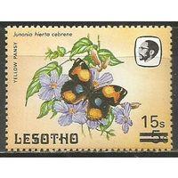 Лесото. Дневная бабочка(нимфалиды). Надпечатка на #446. 1987г. Mi#645.