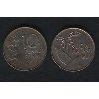 Финляндия km65 10 пенни 1990 год (M) (новый тип) CuNi цветы (f314)