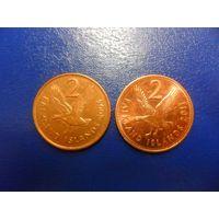 Фолклендские острова 2 пенса 2004,2011 г.г.-цена за монету