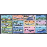 [2061] Сент Люсия 1980. Транспорт.Корабли,самолеты.