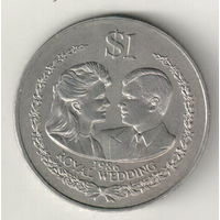 Острова Кука 1 доллар 1986 Королевская свадьба