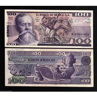 МЕКСИКА 100 песо 1982 год  ПРЕСС из пачки UNC