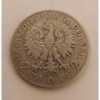 2 злотых.1933г.Королева Ядвига. Серебро.