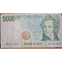 Италия. 5000 лир (образца 1985 года)