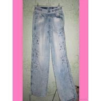Лёгкие супер джинсы на резинке, с вышивкой и блестками! р.42 (26)
